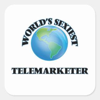 El teleoperador más atractivo del mundo pegatina cuadrada