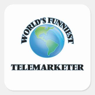 El teleoperador más divertido del mundo pegatina cuadrada
