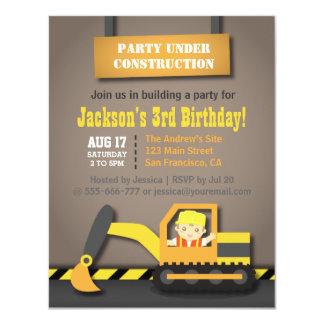 """El tema de la construcción del excavador embroma a invitación 4.25"""" x 5.5"""""""