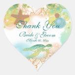 """El tema de la playa """"le agradece"""" cumpleaños del b pegatinas corazon personalizadas"""
