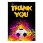 El tema de neón colorido del fútbol le agradece ta tarjeta
