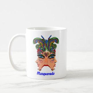 El tema del fiesta de la mascarada ve por favor no taza básica blanca