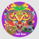 El tema del fiesta del carnaval ve por favor notas pegatina redonda