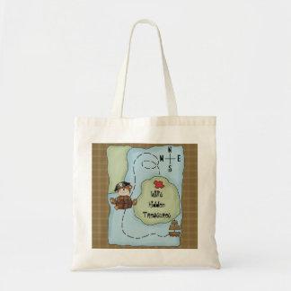 El tema del oso del pirata ocultado atesora el bol bolsa tela barata