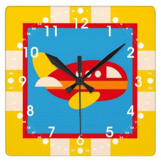 El tema lindo del transporte del aeroplano embroma reloj cuadrado
