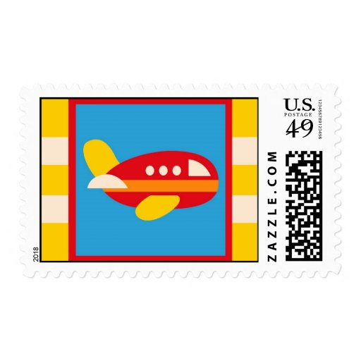 El tema lindo del transporte del aeroplano embroma sellos