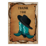 el tema occidental de las botas de vaquero le felicitacion