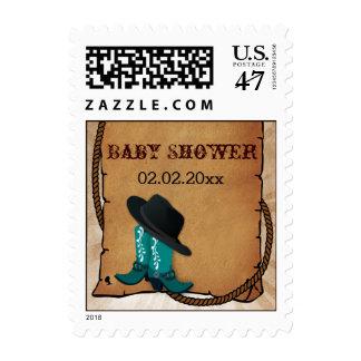 el tema occidental de las botas de vaquero timbres postales