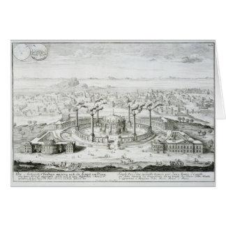 El templo copiado de un diseño en una medalla enco tarjeta de felicitación