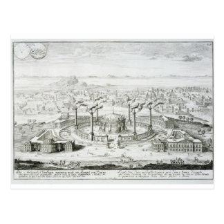 El templo copiado de un diseño en una medalla postal