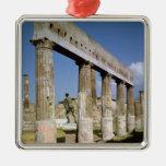 El templo de Apolo Adorno Navideño Cuadrado De Metal
