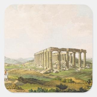 El templo de Apolo Epicurius, platea 25 de parte Pegatina Cuadrada