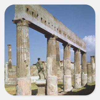 El templo de Apolo Calcomania Cuadrada Personalizada