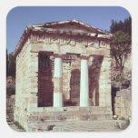 El templo de los tesoros de los atenienses calcomania cuadradas personalizada