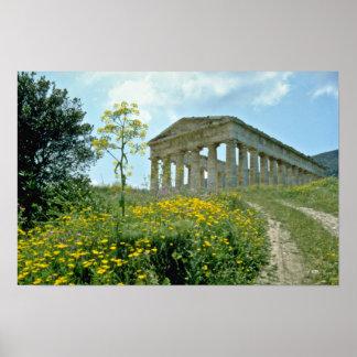 El templo griego Segesta Sicilia Italia florece Poster