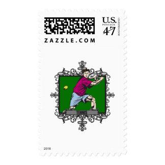 El tenis de los hombres agresivos timbre postal