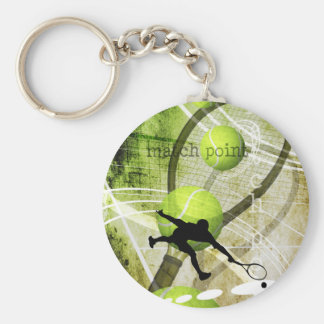 El tenis de los hombres de Match Point Llavero Redondo Tipo Pin