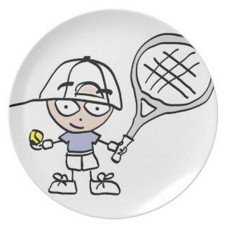 El tenis de los niños plato de cena