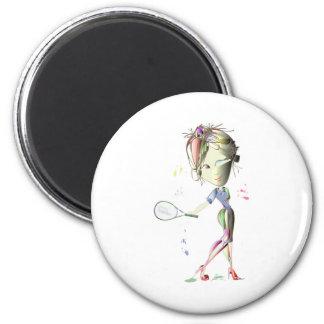 El tenis en estilete rojo calza arte imán redondo 5 cm