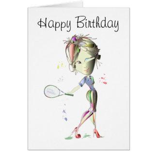 El tenis en estilete rojo calza arte tarjeta de felicitación