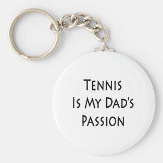 El tenis es la pasión de mi papá llavero redondo tipo pin
