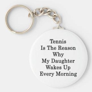 El tenis es la razón por la que mi hija despierta  llavero redondo tipo pin