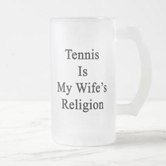 El tenis es la religión de mi esposa taza de café