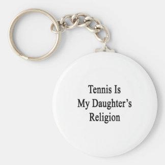El tenis es la religión de mi hija llavero redondo tipo pin