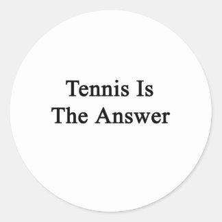 El tenis es la respuesta pegatina redonda
