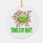 El tenis es mi corazón ornamento de reyes magos