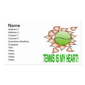 El tenis es mi corazón tarjetas de visita
