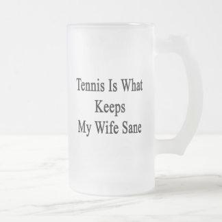 El tenis es qué mantiene a mi esposa sana taza cristal mate