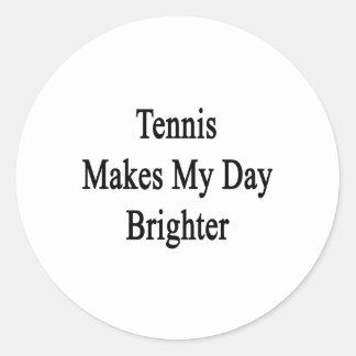 El tenis hace mi día más brillante pegatina redonda