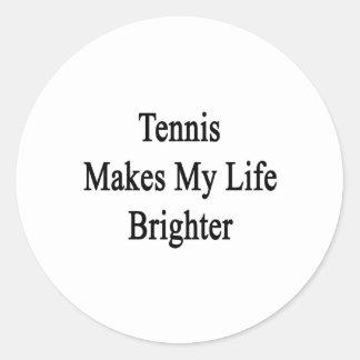 El tenis hace mi vida más brillante pegatina redonda