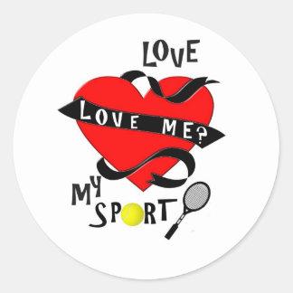 ¿El TENIS me ama? ¡Ame mi deporte! Pegatina Redonda