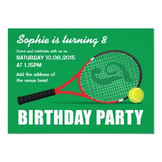 """El tenis se divierte el cumpleaños de los niños de invitación 4.5"""" x 6.25"""""""
