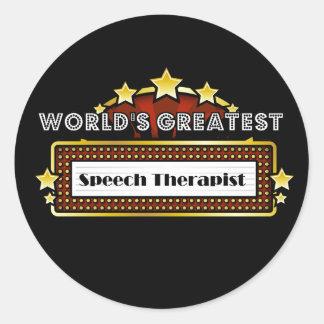 El terapeuta del discurso más grande del mundo pegatina redonda