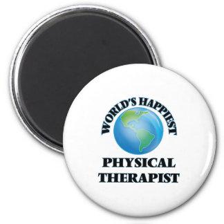 El terapeuta físico más feliz del mundo imán redondo 5 cm