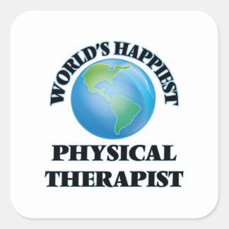El terapeuta físico más feliz del mundo pegatina cuadrada