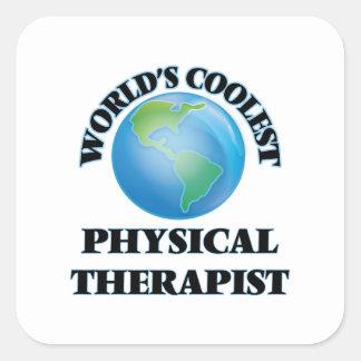 El terapeuta físico más fresco del mundo pegatina cuadrada