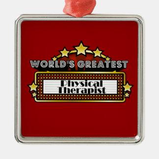 El terapeuta físico más grande del mundo adorno navideño cuadrado de metal