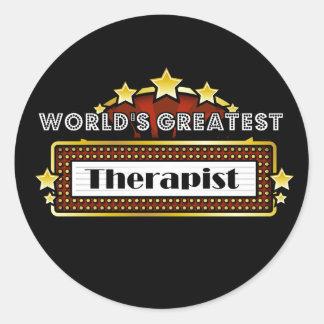 El terapeuta más grande del mundo pegatina redonda