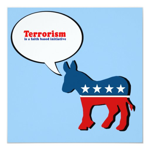 """El terrorismo es una iniciativa basada fe invitación 5.25"""" x 5.25"""""""