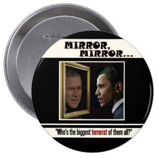 El terrorista más grande: ¿Bush u Obama? Pin Redondo De 4 Pulgadas