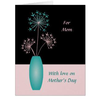 El texto de encargo del día de madres florece para tarjeta de felicitación grande