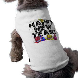 El texto de la Feliz Año Nuevo con confeti Playera Sin Mangas Para Perro
