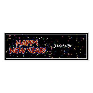 El texto de la Feliz Año Nuevo con confeti Tarjetas De Visita Mini