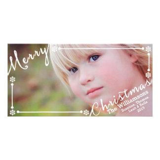 El texto de las Felices Navidad cubrió los copos Tarjetas Fotográficas Personalizadas