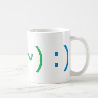 El texto sonríe (tres estilos) tazas de café