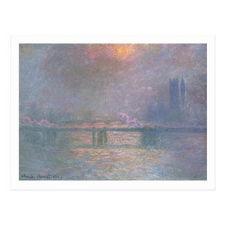 El Thames con el puente cruzado de Charing, 1903 Postales